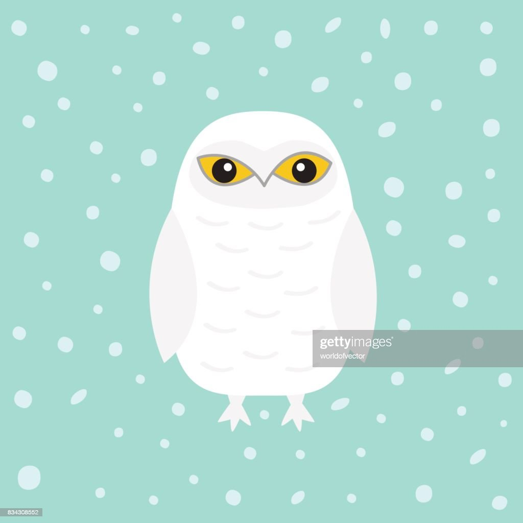 White Snowy owl. Sitting bird with wings. Snow barn. Yellow eyes. Arctic Polar animal collection. Baby education. Flat design. Isolated. Blue winter background with snow flake.