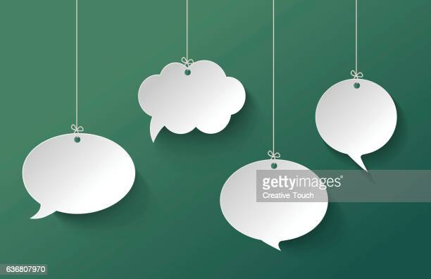 White Speech Bubble Hanging on the Green Background
