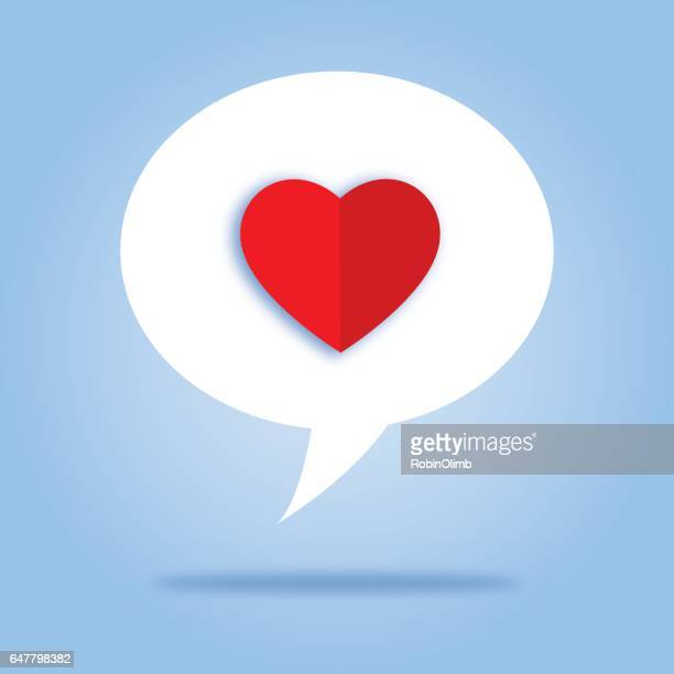 White Speech Bubble Heart Icon