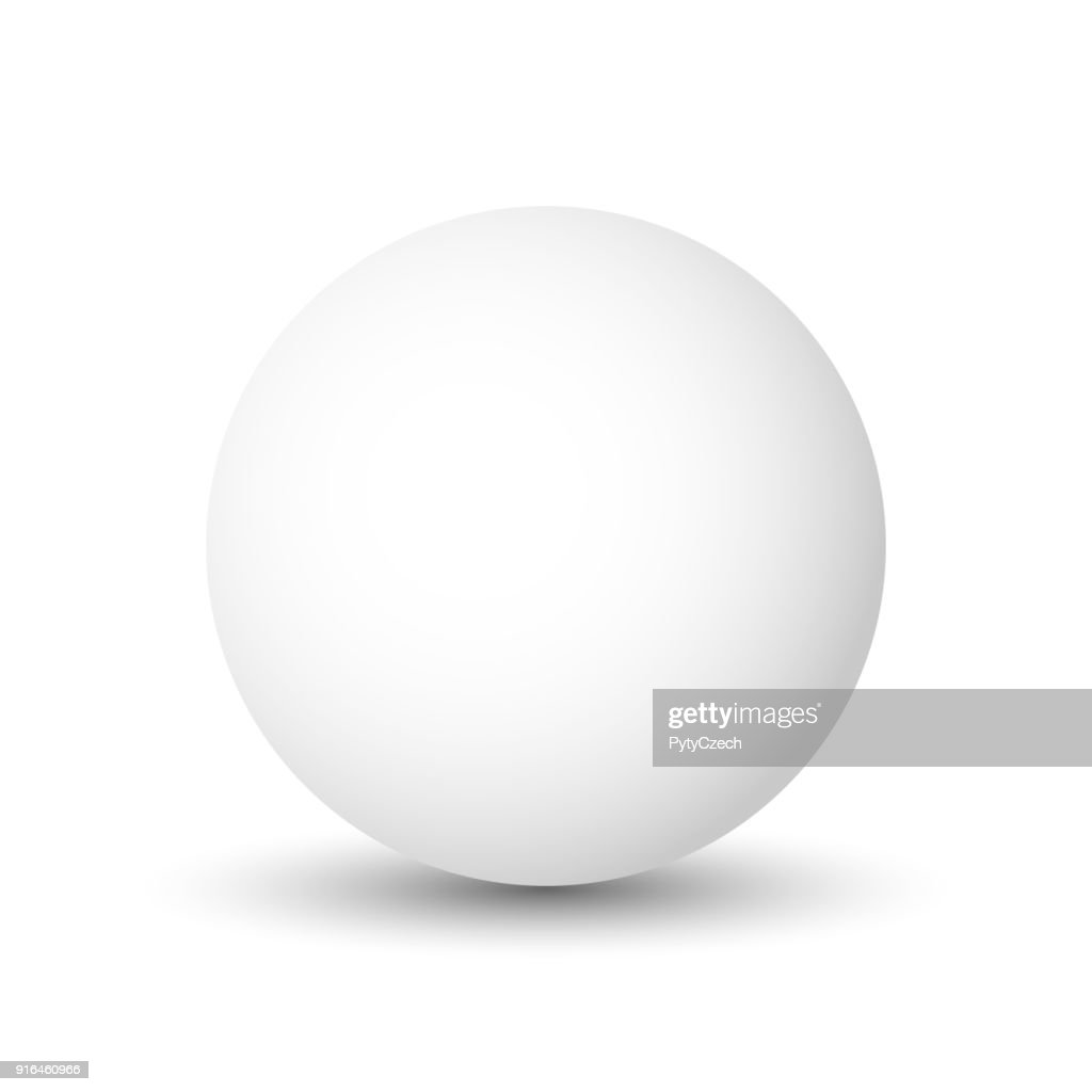 White sphere, ball or orb. 3D vector object with dropped shadow on white background