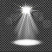 White spotlight on transparency background