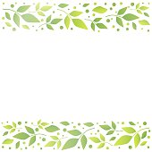 White square background with decorative stripes align top and below with green leaves and dots
