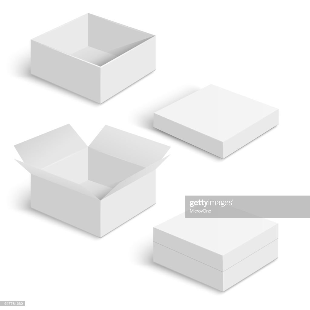White square box vector templates set