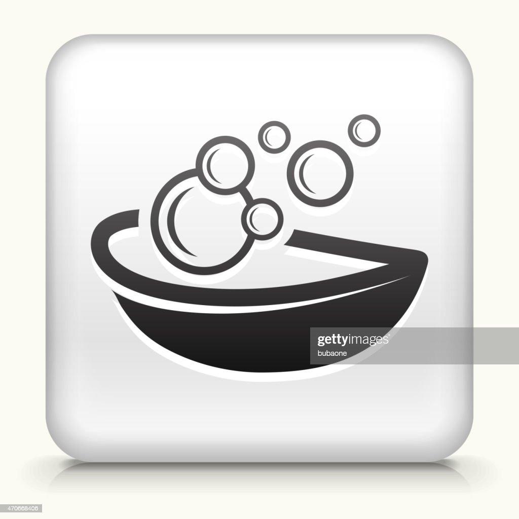 White Square Button with Bubble Soap Icon