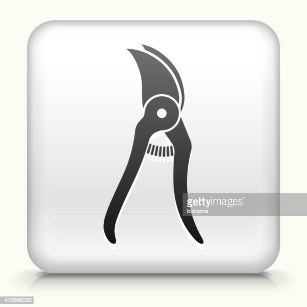 white square button with pruners - pruning shears stock illustrations, clip art, cartoons, & icons