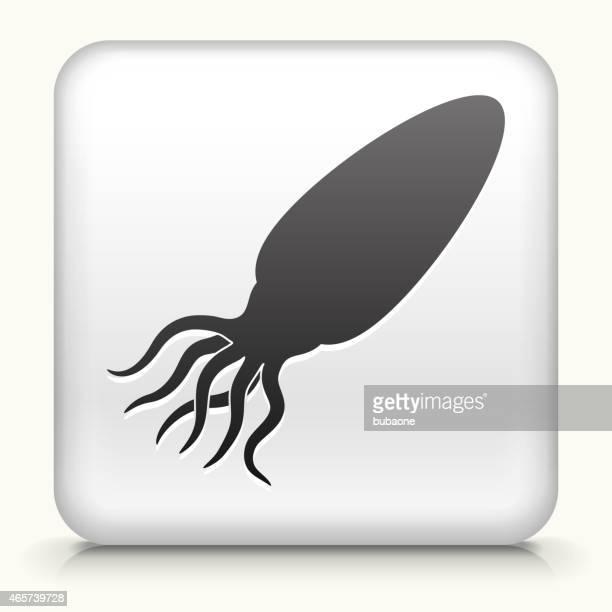 White Square Button With Squid Silhouette Icon