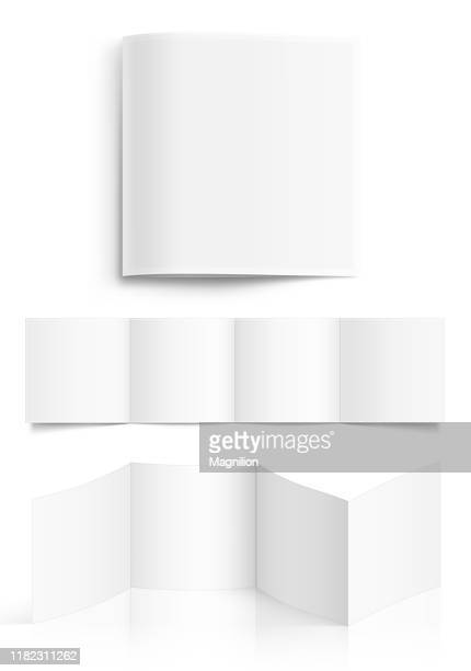 white square shape blank booklet - folded stock illustrations