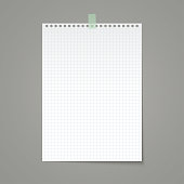 White squared paper sheet torn from a notebook. Vector background