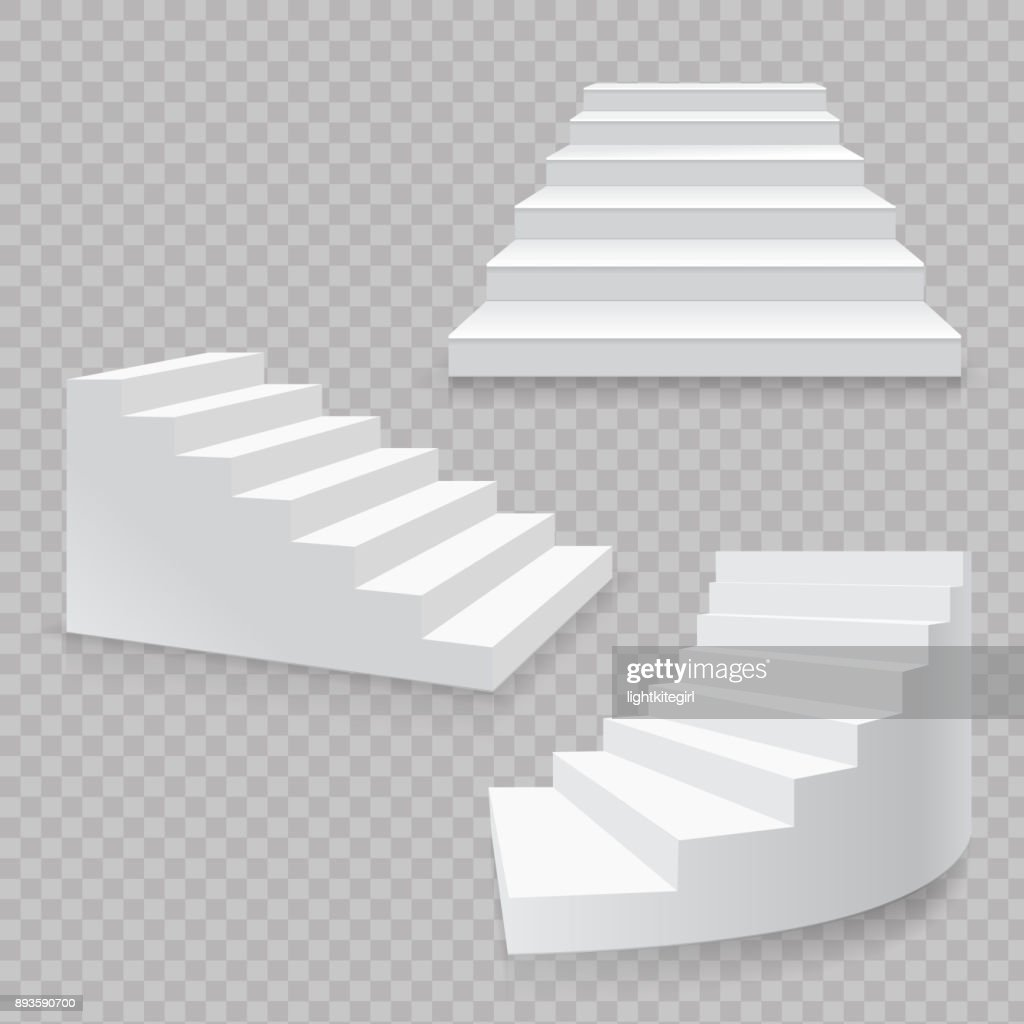 White stairs realistic isolated set. 3d staircases vector