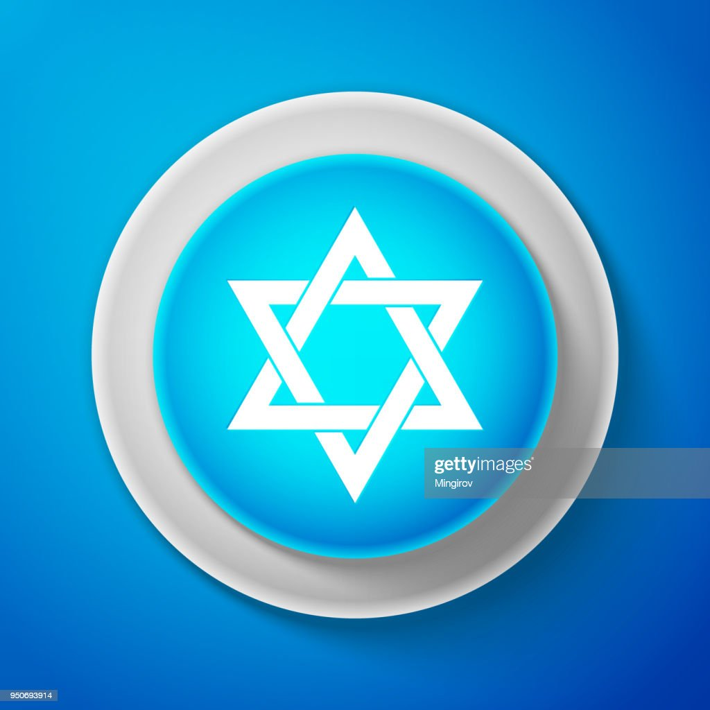 White Star of David icon isolated on blue background. Circle blue button with white line. Vector Illustration