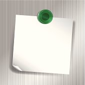 White sticky note attached to fridge with green magnet