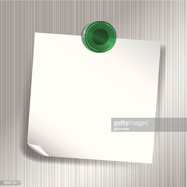 white sticky note attached to fridge with green magnet - magnet stock illustrations, clip art, cartoons, & icons