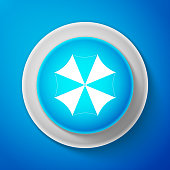 White Sun protective umbrella fo beach icon isolated on blue background. Large parasol for outdoor space. Beach umbrella. Picnic accessory. Circle blue button with white line. Vector Illustration