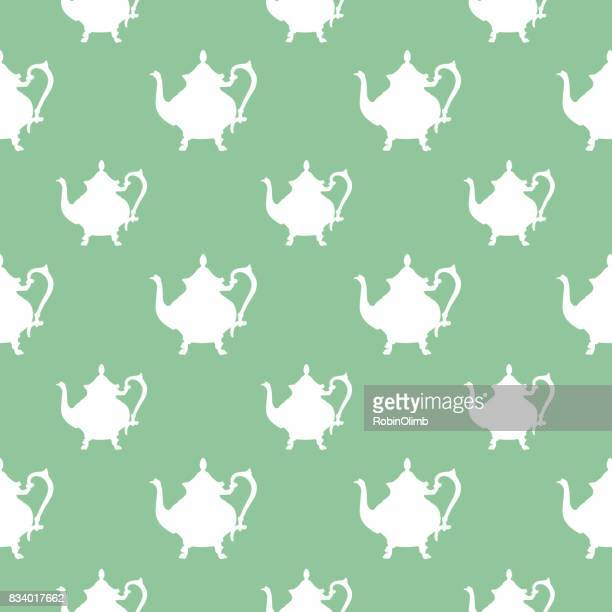 white teapots seamless pattern - steeping stock illustrations, clip art, cartoons, & icons