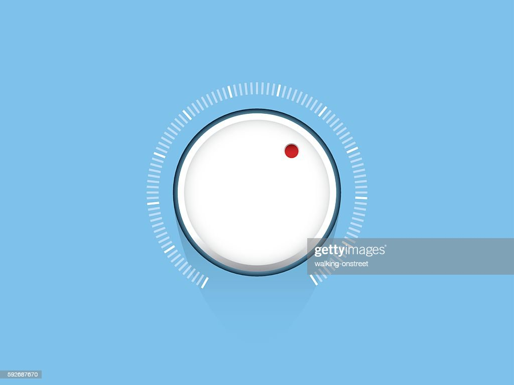 White technology music volume button, volume knob, flat design