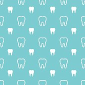 White teeth on turquoise background.