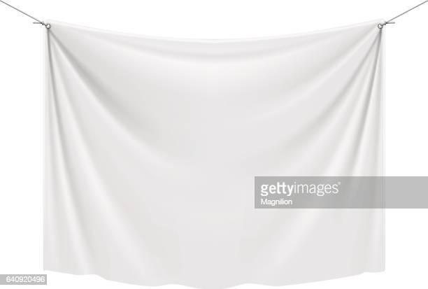 stockillustraties, clipart, cartoons en iconen met wit textiel banner - hangen