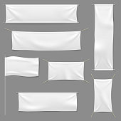 White textile banners. Blank fabric flag hanging canvas sale ribbon horizontal template advertising cloth vector banner set