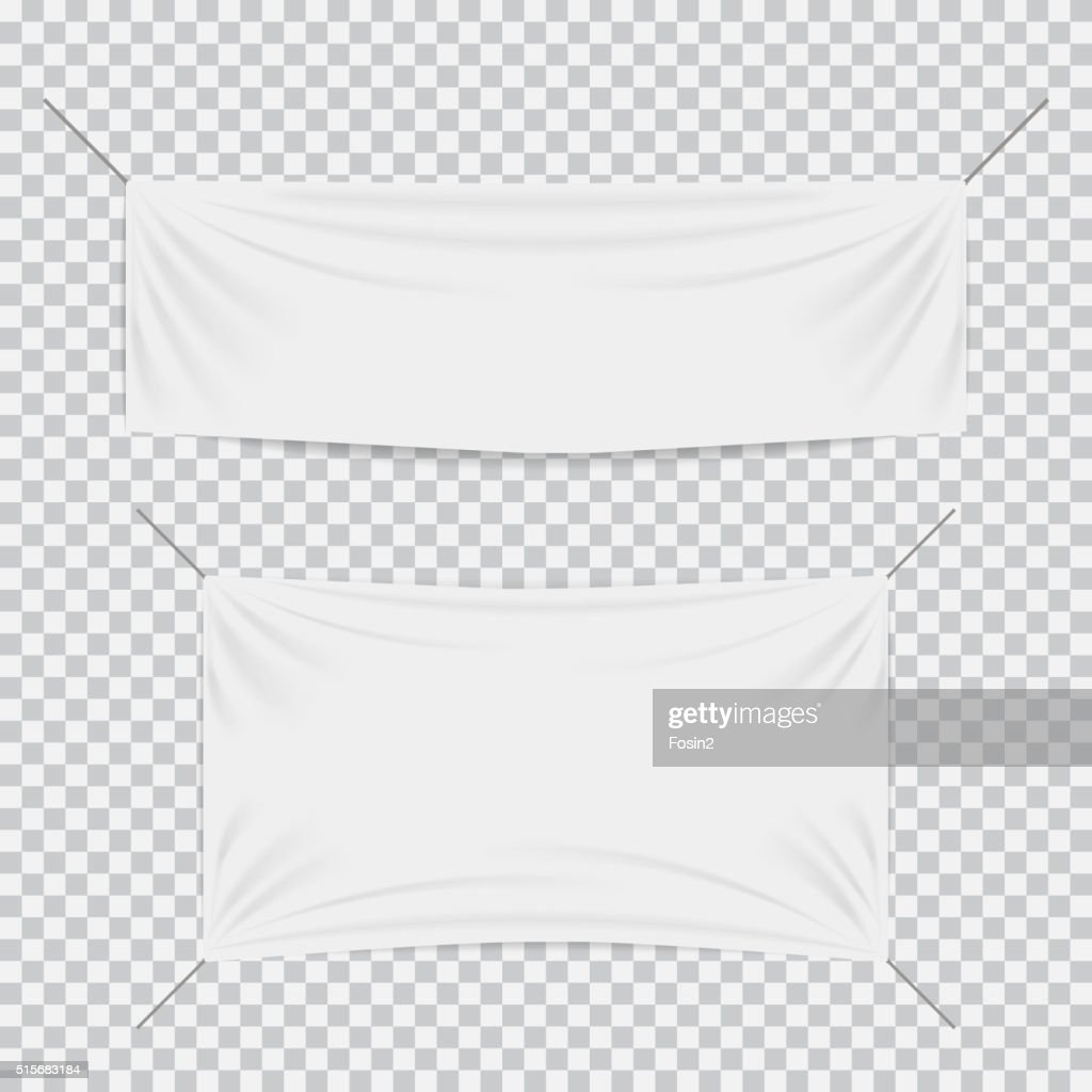 White textile banners with folds template set