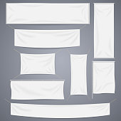 White textile banners with folds vector template set. Separate shadows
