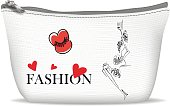 White textile cosmetic bag