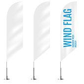 White textile wind banner flags. Banner wind flag mockups set. Set of vector advertising mockups.