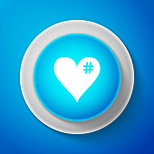 White The hash love icon. Hashtag heart symbol icon isolated on blue background. Circle blue button with white line. Vector Illustration