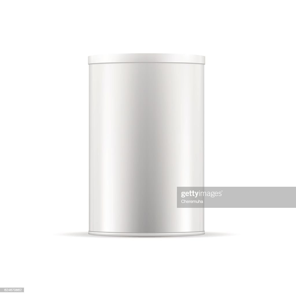 White tin can with cap. Vector round container for products.