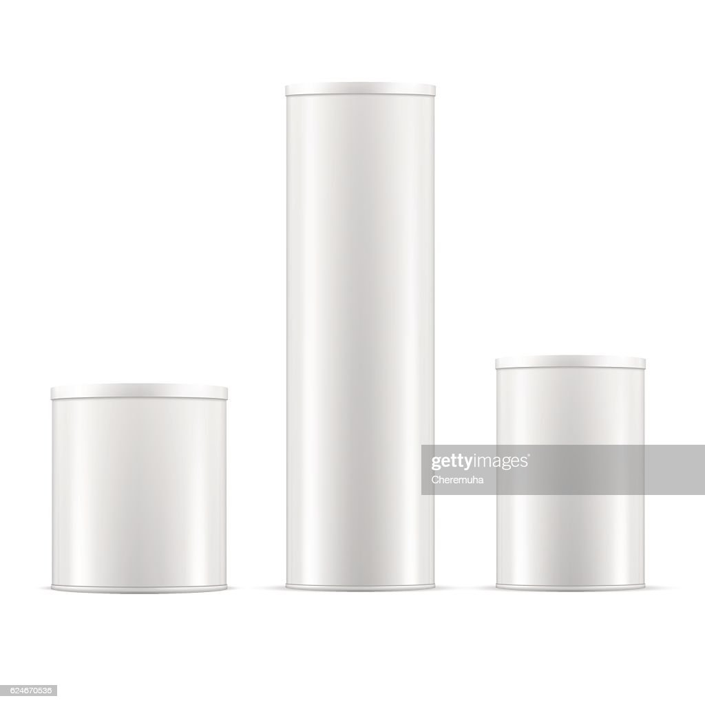 White tin cans. Tin box collection with caps. Vector containers.