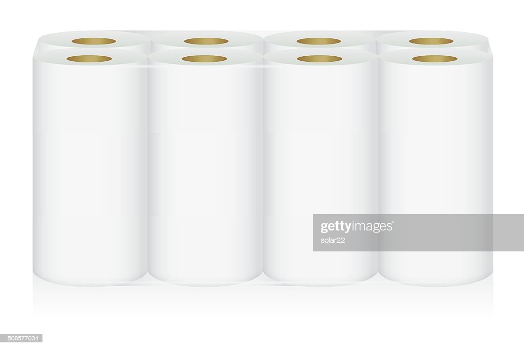 White tissue paper 8 roll in pack : Vector Art
