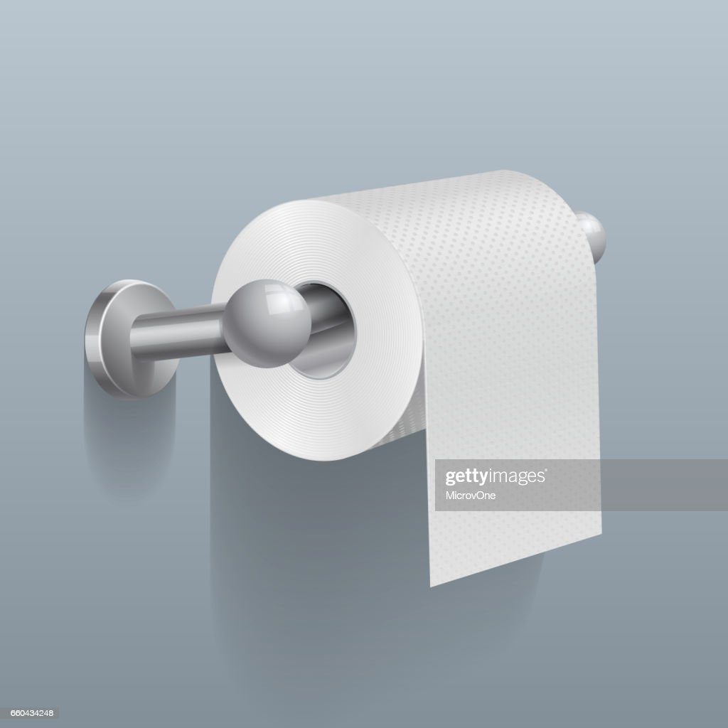 White toilet paper roll, serviette on wall vector illustration
