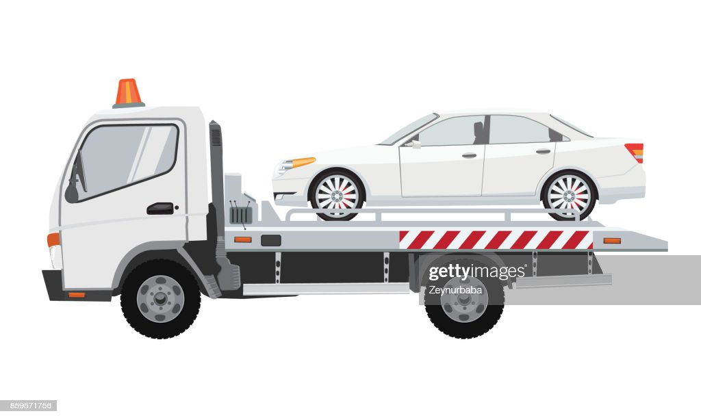 White tow truck with sedan car on it. Flat vector with solid color design.