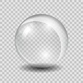 White transparent vector glass sphere