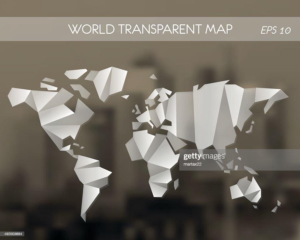 white transparent world map