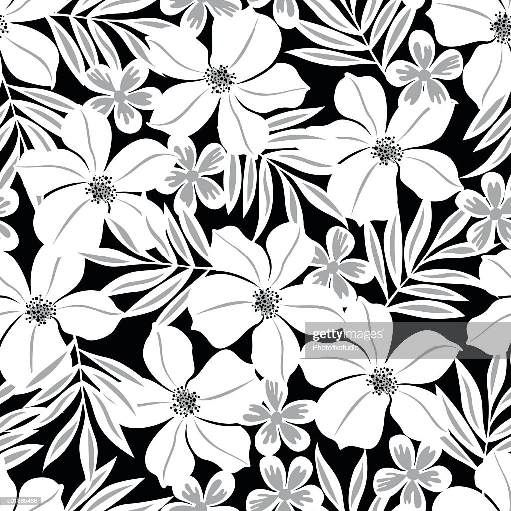 White Tropical Flower On A Black Background Seamless Pattern Vector