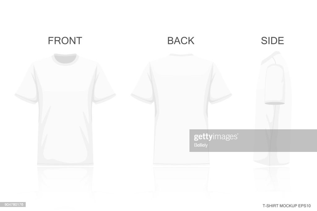 White T-Shirt Isolated on Gray background , Front side back view for your creative design pattern on shirt , mockup for presentaion advertising , illustration vector