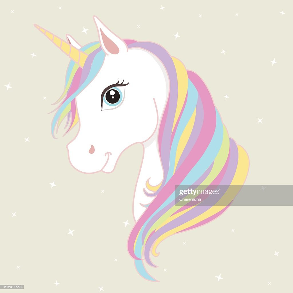 White unicorn vector head with mane and horn. Vector illustration.