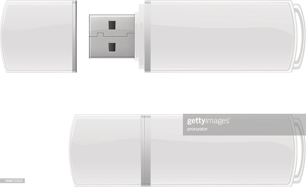 White USB flash storage