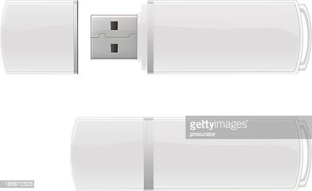 white usb flash storage - usb cord stock illustrations, clip art, cartoons, & icons