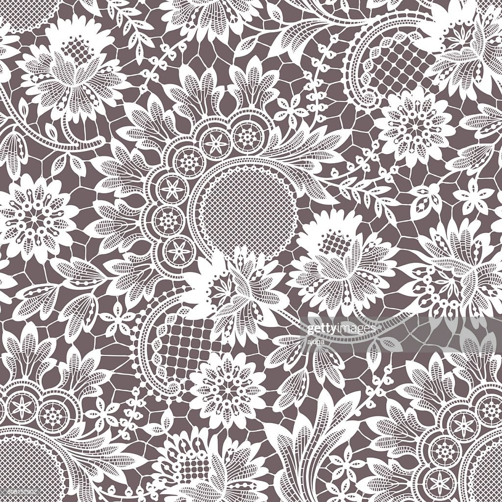 White Vector Lace. Seamless Pattern.