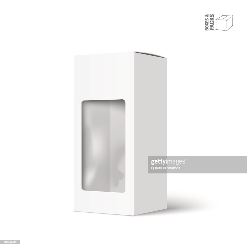 White vector product package box with window