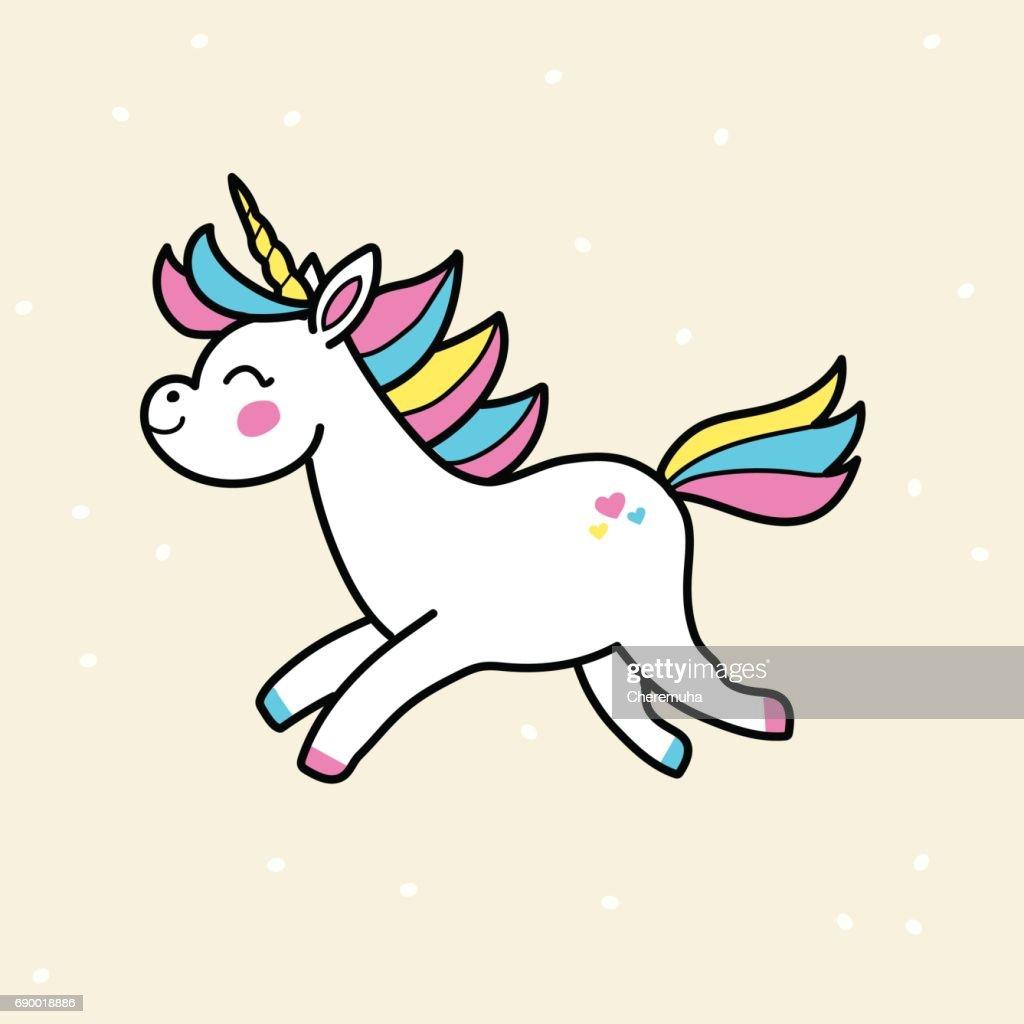 White vector unicorn. Running unicorn badge.