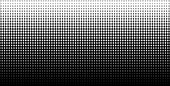 White vertical gradient halftone dots background, horizontal template using halftone dots pattern. Vector illustration