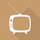 White vintage TV outline on brown background