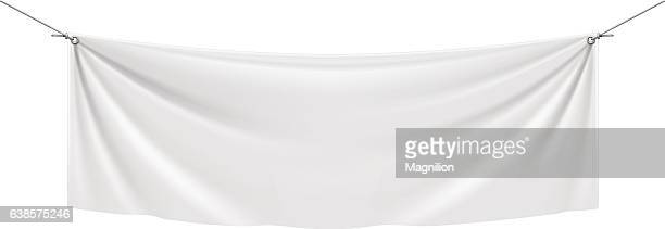 stockillustraties, clipart, cartoons en iconen met white vinyl banner - zonder mensen