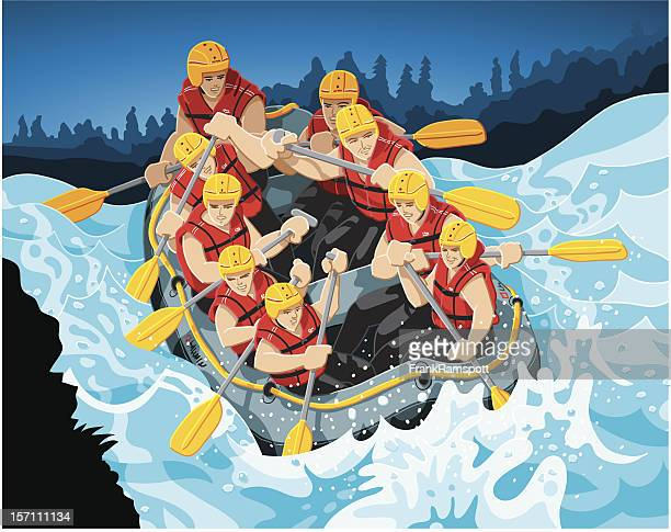 white water rafting - rapid stock illustrations