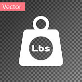 White Weight pounds icon isolated on transparent background. Pounds weight block for weight lifting and scale. Mass symbol. Vector Illustration