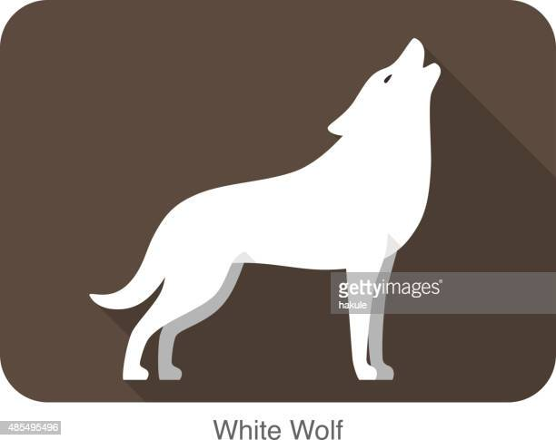 white wolf standing and roaring - howling stock illustrations, clip art, cartoons, & icons