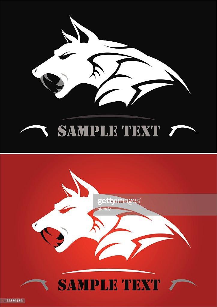 White wolf, Wild wolf. Side view of white wild dog.