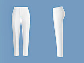 White womens pants realistic isolated vector
